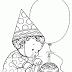 Desenho de Menino Soprando Velinha do Bolo de Aniversário para Colorir