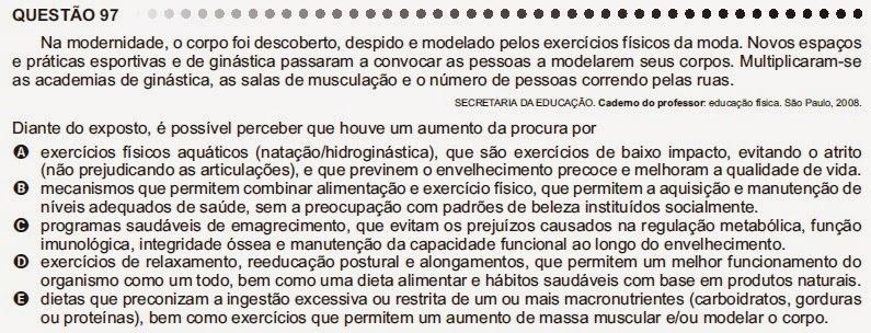 ANÁLISE - ENEM 2011 - QUESTÃO 97 - PROVA CINZA