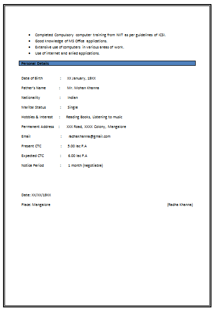 bpo resume format  bpo experienced resume samples  sample resume    resume template for company secretary