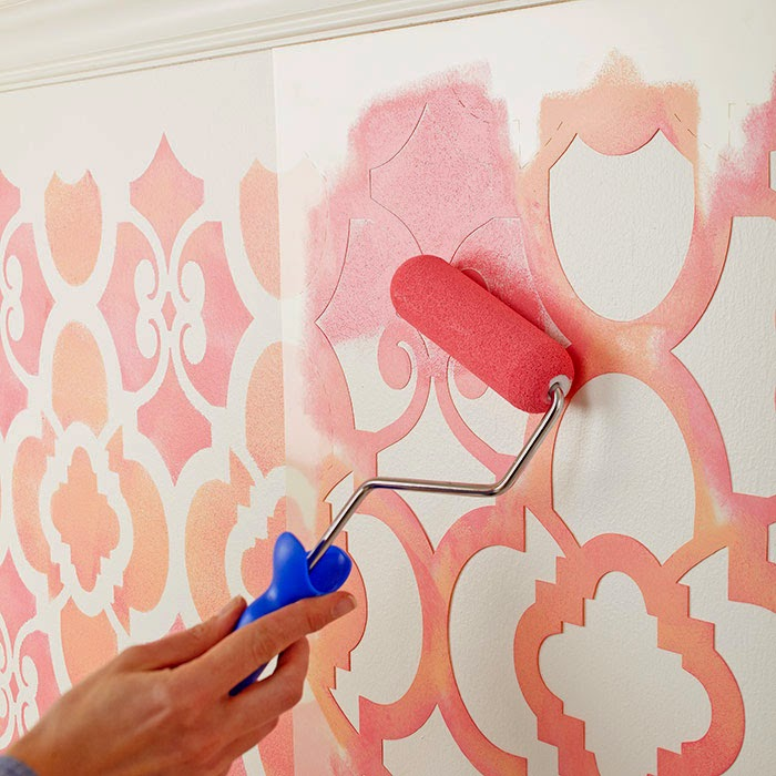 Eu amo artesanato parede pintada com molde vazado - Moldes para pintar paredes ...