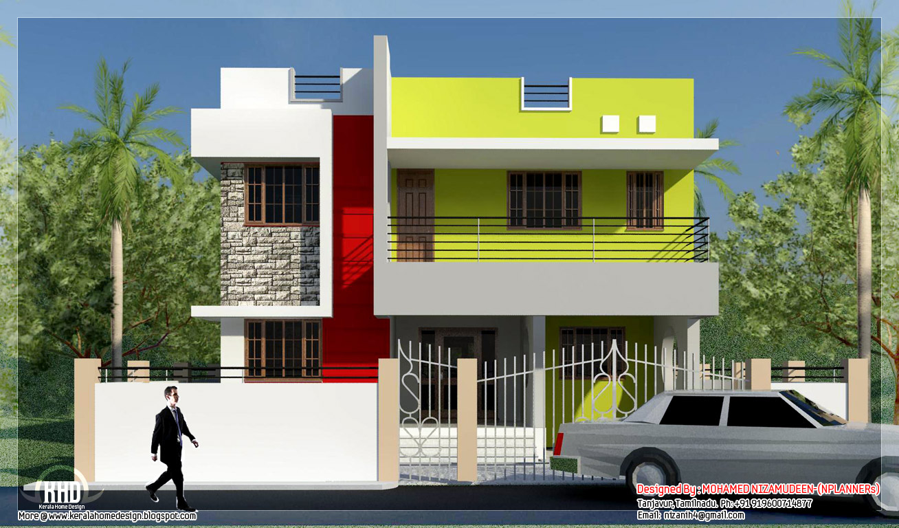 Modern minimalist tamilnadu house design kerala homes for Tamilnadu home design photos
