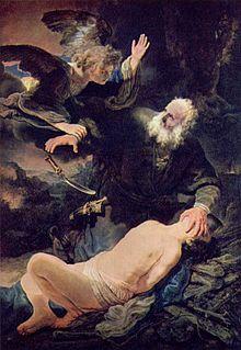 Representación de Abraham en una pintura de Rembrandt.