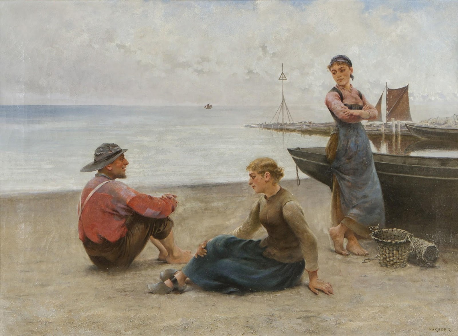 August Hagborg On the shore in  rittany