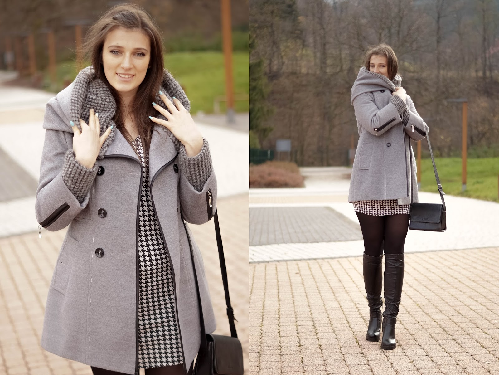 szary zimowy płaszcz stylizację