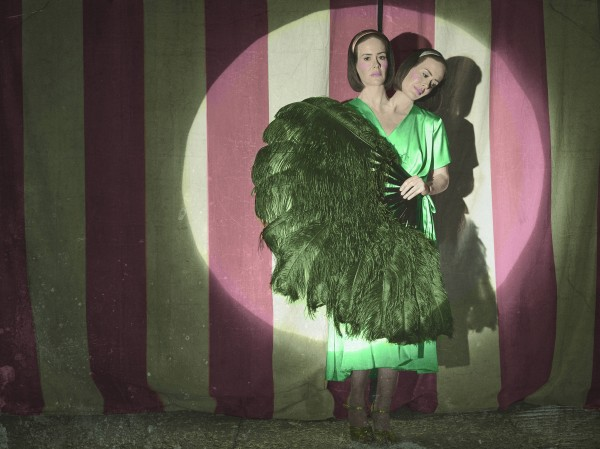 Two headed woman in American Horror Story freakshow