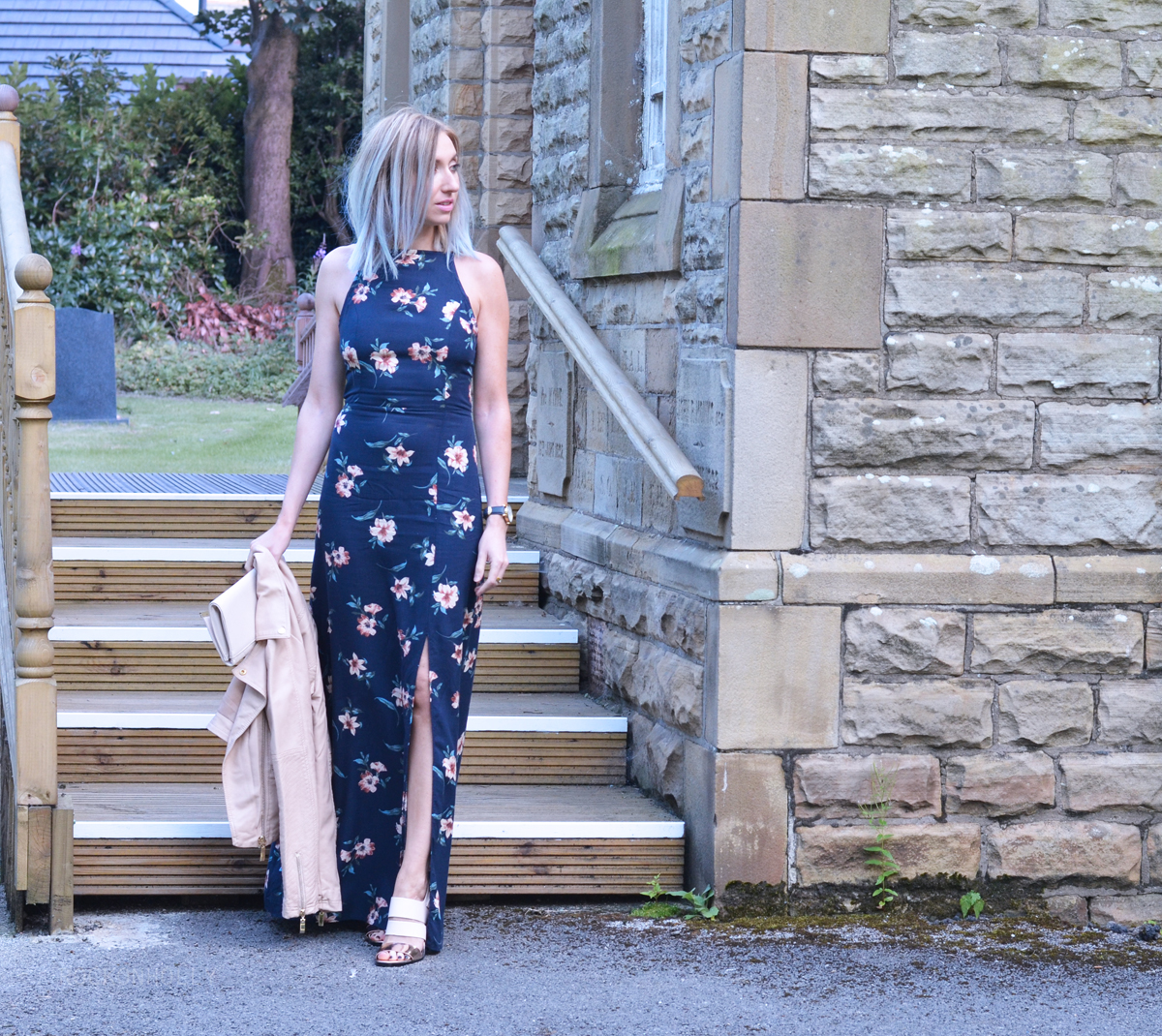 New Look Floral Maxi Dress and Nude Accessories
