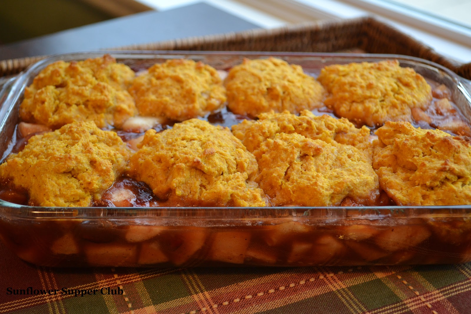 Sunflower Supper Club: Spiced Pear and Cranberry Cobbler