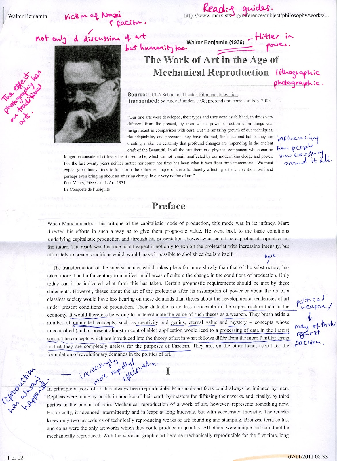 benjamin mechanical reproduction essay Perhaps benjamin's best-known work is 'the work of art in the age of mechanical reproduction' this short piece provides a general history of changes in art in.