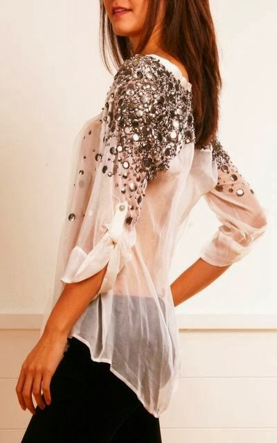 Bedazzled Shoulders Lace Shirt With Black Jeans
