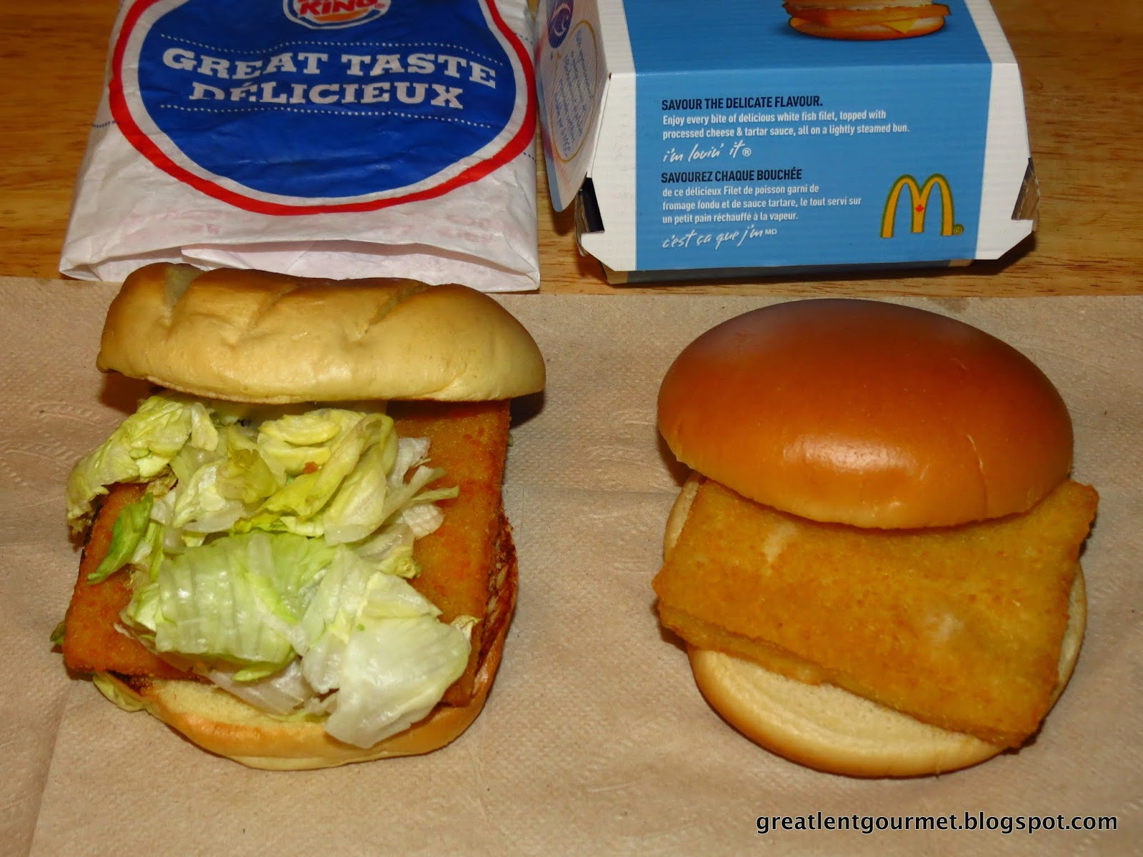 Great lent gourmet day 23 mcdonalds filet o fish vs for Burger king big fish