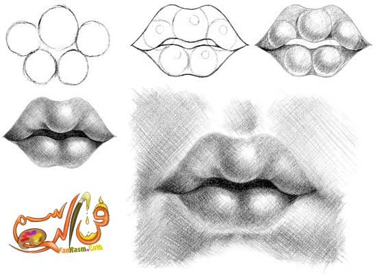 فنون تعلم كيفية رسم الفم بالرصاص بالص ور والشرح فيديو