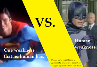 Character weakness a writing comparison using Superman and Batman.