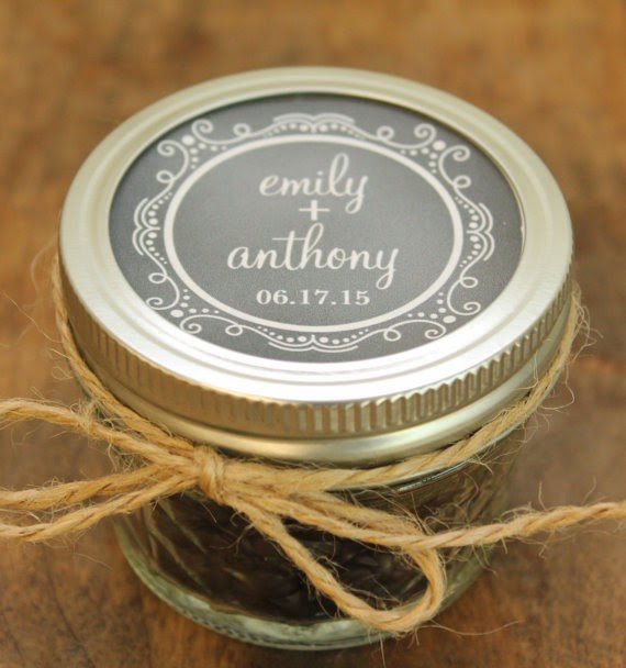 Set of 24 - 4 oz Mason Jar Wedding Favors - Chalkboard Label Design - Bridal Shower Favors, Baby Shower Favors, Favors, Party Favors wedding rehearsal dinner engagement party