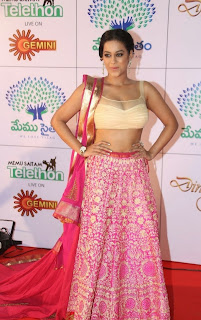 Actress Mumaith Khan  Picture Gallery in Half Saree at Memu Saitam Dinner with Stars Red Carpet  1.jpg