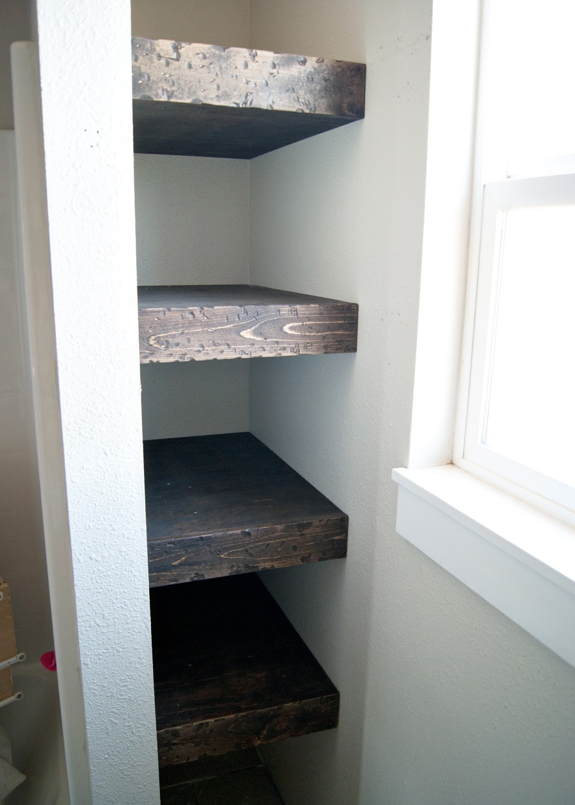 DIY Floating Wood Shelves. Bathroom Shelves
