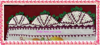 Barrado e Bico em crochê para pano de prato modelo uva