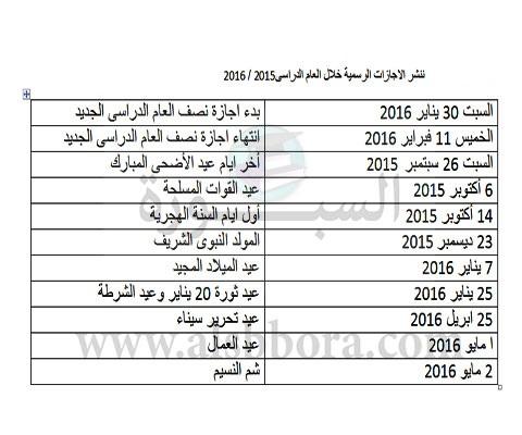 قرار الوزارة عن موعد اجازة 25 يناير