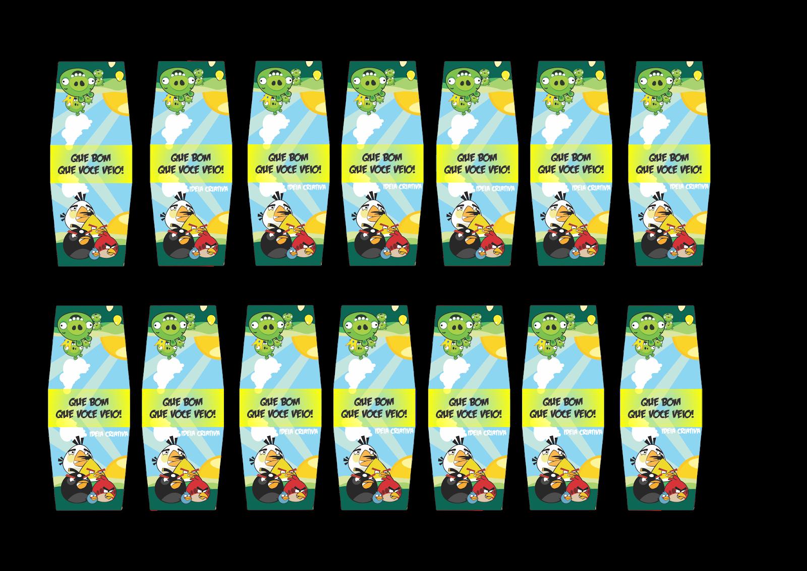 Rótulo de tic tac para aniversário de festa infantil Angry Birds