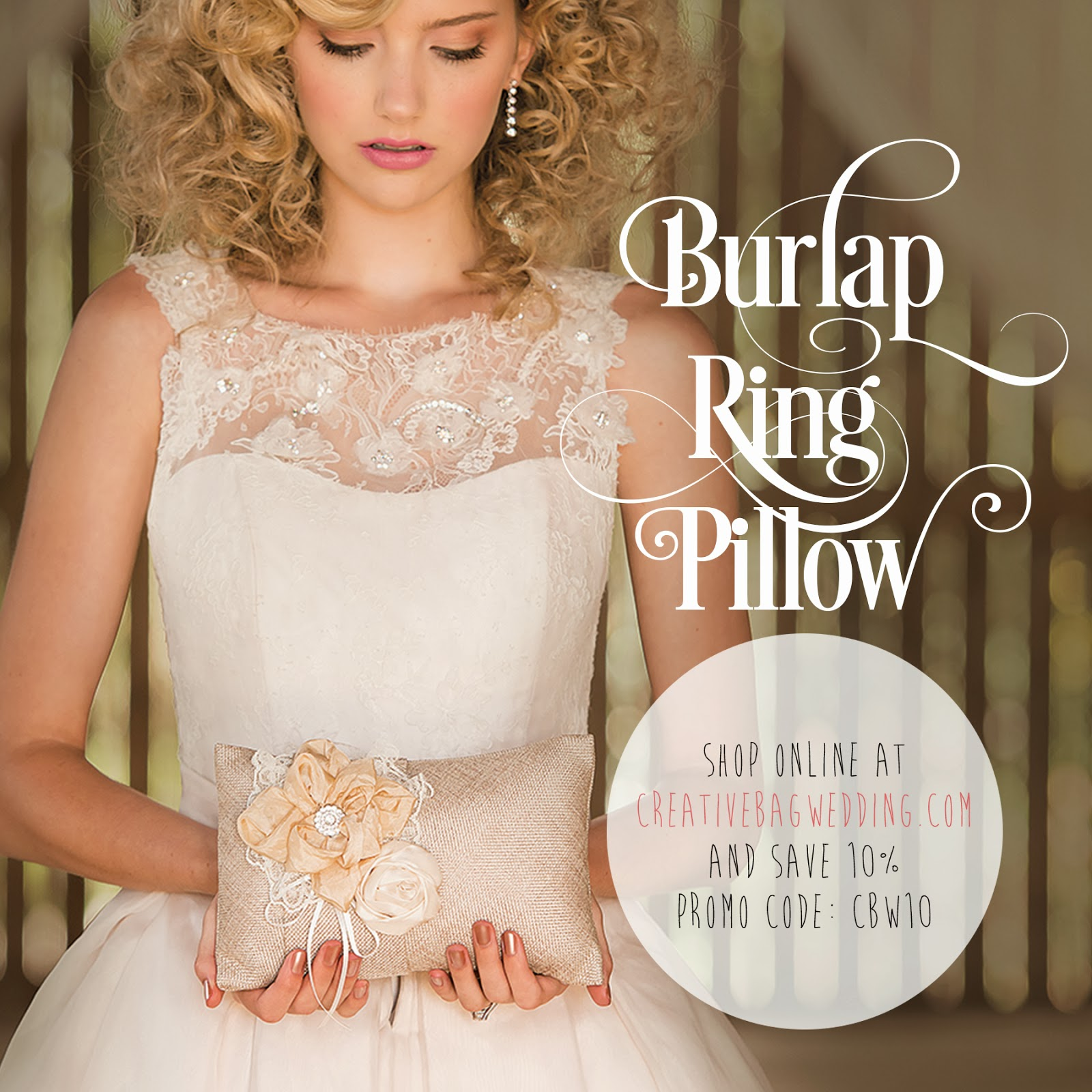burlap chic ring pillow | Creative Bag Wedding | save 10% on line using promo code CBW10