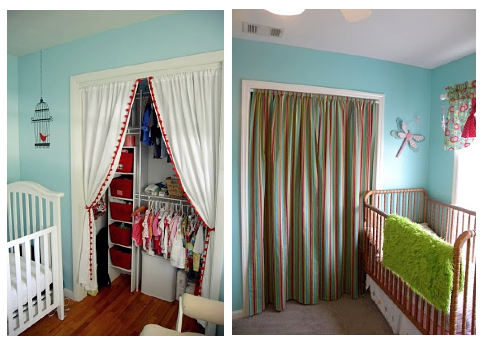 I am thinking of putting up fabric closet doors in the kid rooms and after looking at some of these photos I am in love with the idea! & Fabric closet doors - B. B.