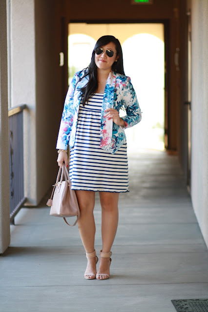 stripe dress, floral blazer, prada bag, zara heels