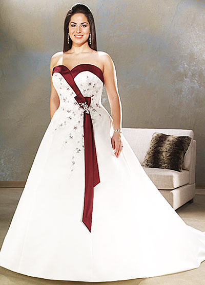 Elegant Bridal Style Plus Size Red and White Wedding Dresses