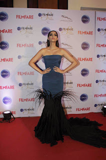 Sonam Kapoor in Light Blue Half Velvet Gown at CIROC Filmfare Glamorous and Style Awards 2015 in Mumbai