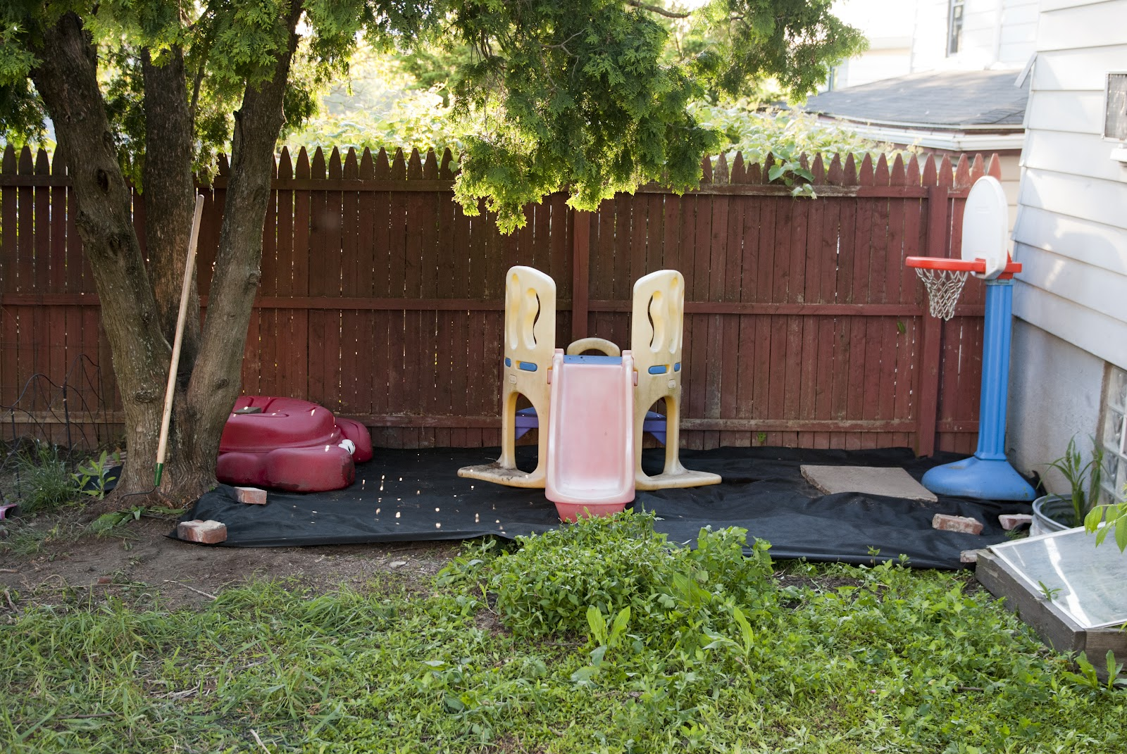 kids play area in backyard before u0026 after
