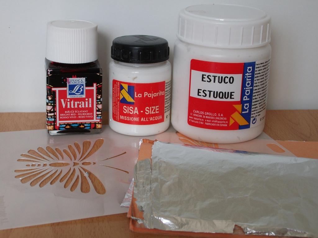 para el relieve estuco esptula plantilla pan de plata mixin pinturas para vitral