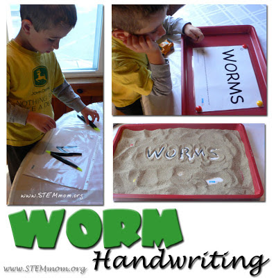 Worm-themed art and handwriting from STEMmom.org