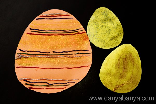 Paper Easter Eggs Decorated with glitter glue
