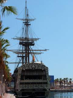Pirate ship restaurant in Alicante marina, Spain