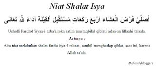 Niat Shalat Isya