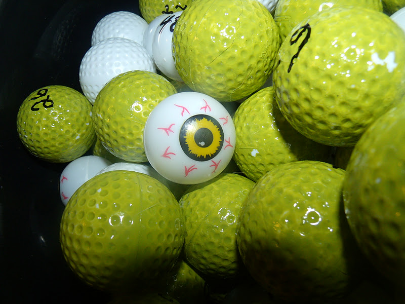 Bingo balls bought golf practice balls and sprayed painted them and