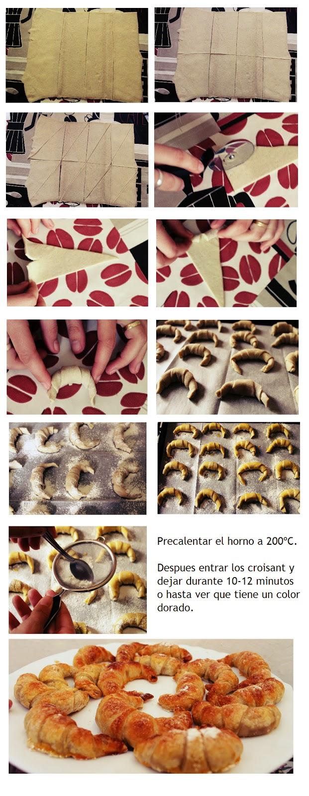 Mini Croissant de Hojaldre, Receta fácil y rápida.
