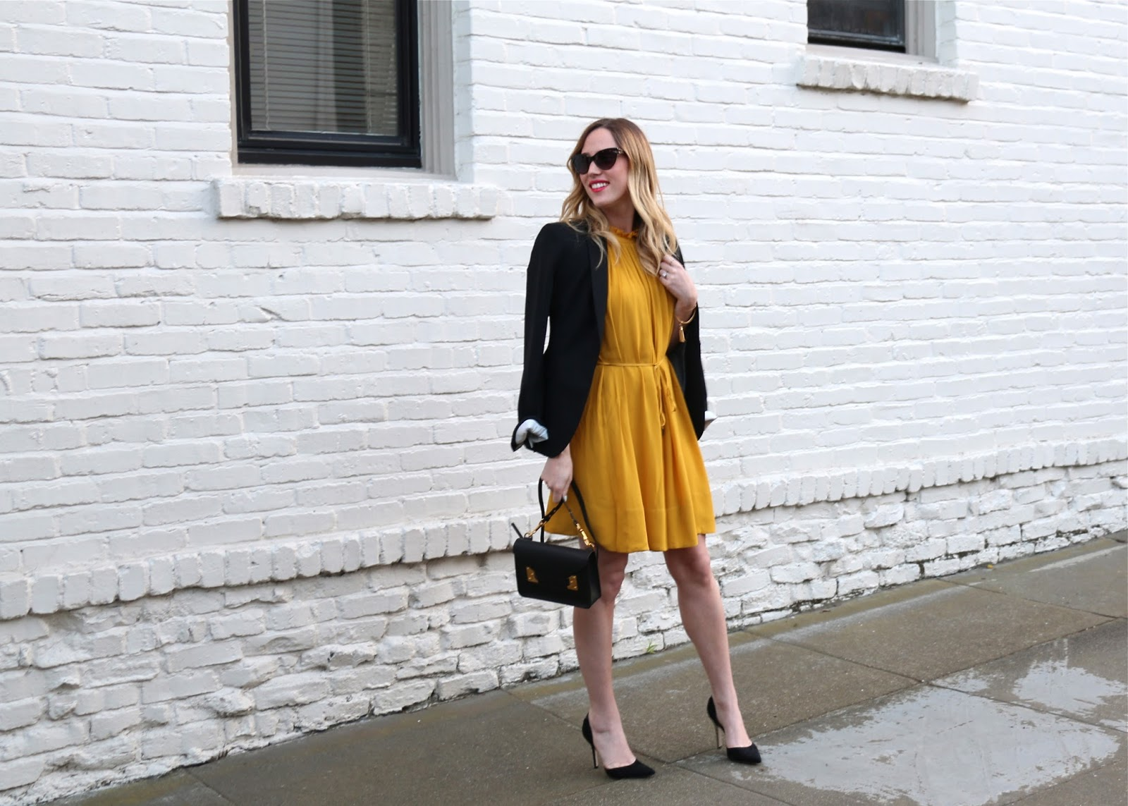 banana republic mustard yellow dress
