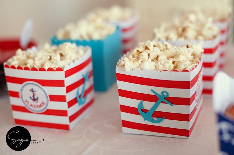 tema Navy petrecere, cutie popcorn navy, tema marina, petreceri personalizate