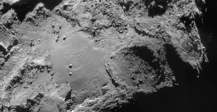 This four-image mosaic comprises images taken from a distance of 19.4 km from the centre of Comet 67P/Churyumov-Gerasimenko on 14 December. Credit: ESA/Rosetta/NAVCAM – CC BY-SA IGO 3.0