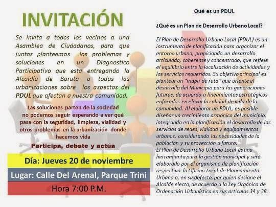 Asamblea: PDUL Participación Ciudadana, La Trinidad, Baruta, 20/11