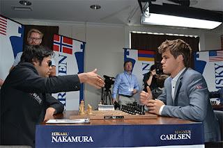 Echecs à Saint-Louis ronde 5 : Hikaru Nakamura (2772) 1/2  Magnus Carlsen (2862) - Photo © Chessbase