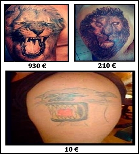 Imagen de tatuajes y su respectivo precio.