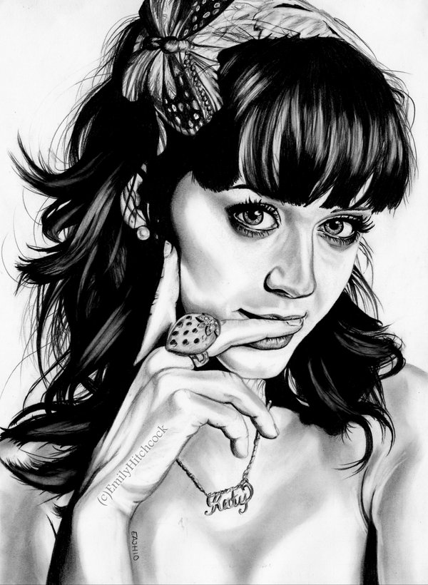 custom portrait drawings - pencil portrait drawing - katy perry illustrations
