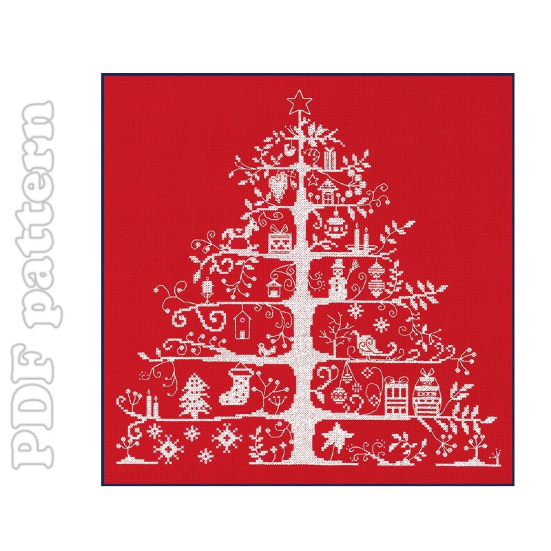 Fishing Line Christmas Tree Patterns http://craftyline.blogspot.com/2011/12/christmas-tree-presents-cross-stitch.html