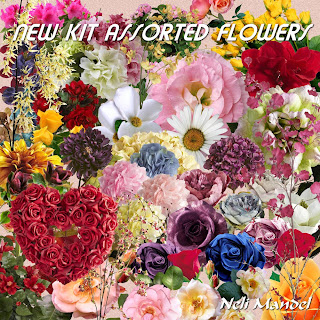 "Free scrapbook elements ""Assorted Flowers"" from Lugar Encantado da Neli - FS"