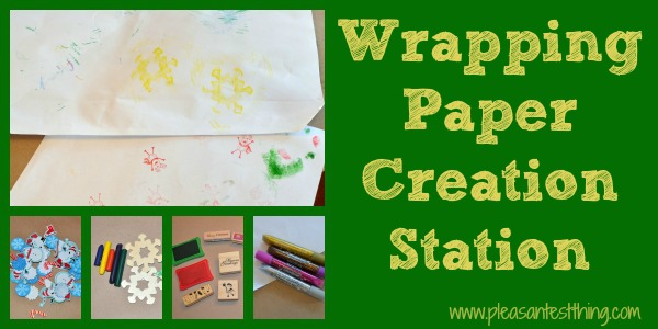wrapping paper station for kids