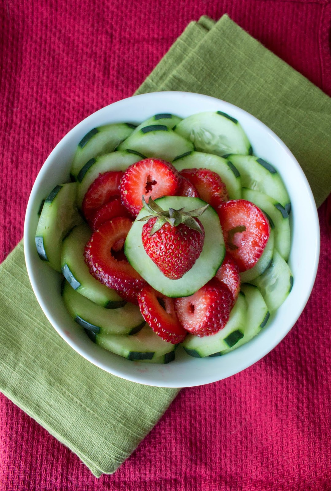 Cucumber Strawberry Salad with Honey and Balsamic Vinegar Dressing