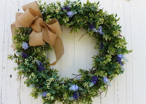Boxwood Wreath with Lavender