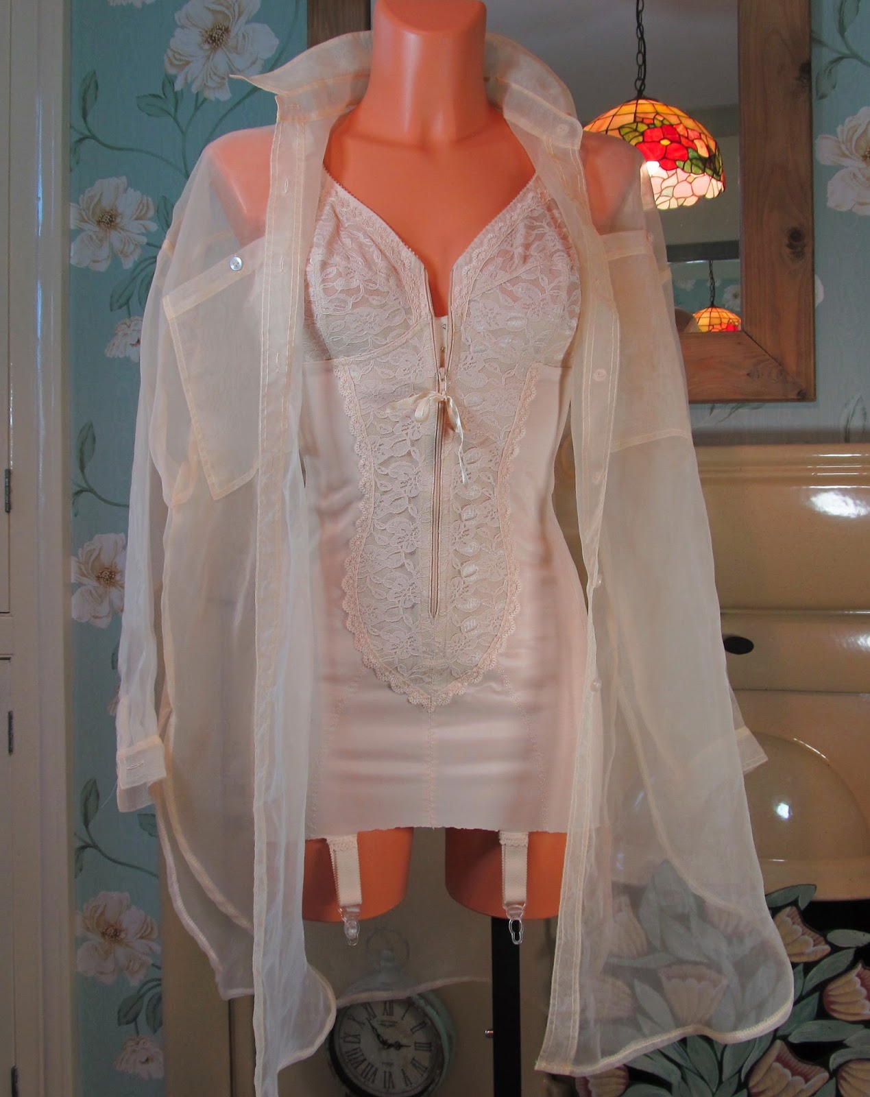 Vintage nude see through very sheer long tunic blouse top