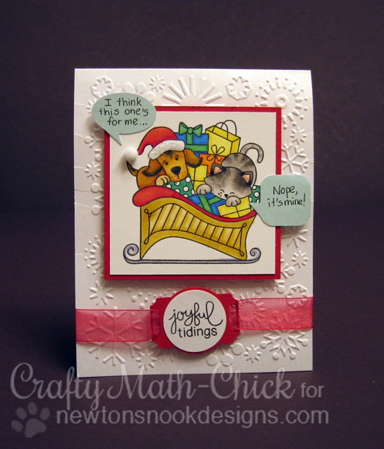 Cat and Dog in Sleigh Christmas Card by Crafty Math-Chick for Newton's Nook Designs - Christmas Delivery Stamp Set
