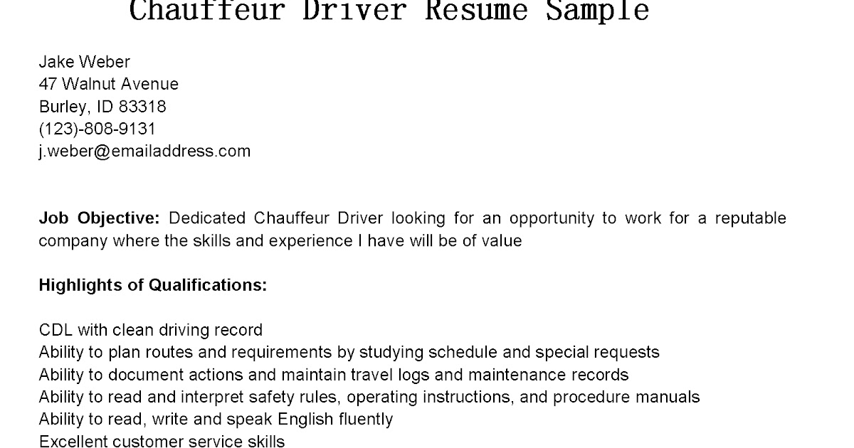 driver resumes chauffeur driver resume sample